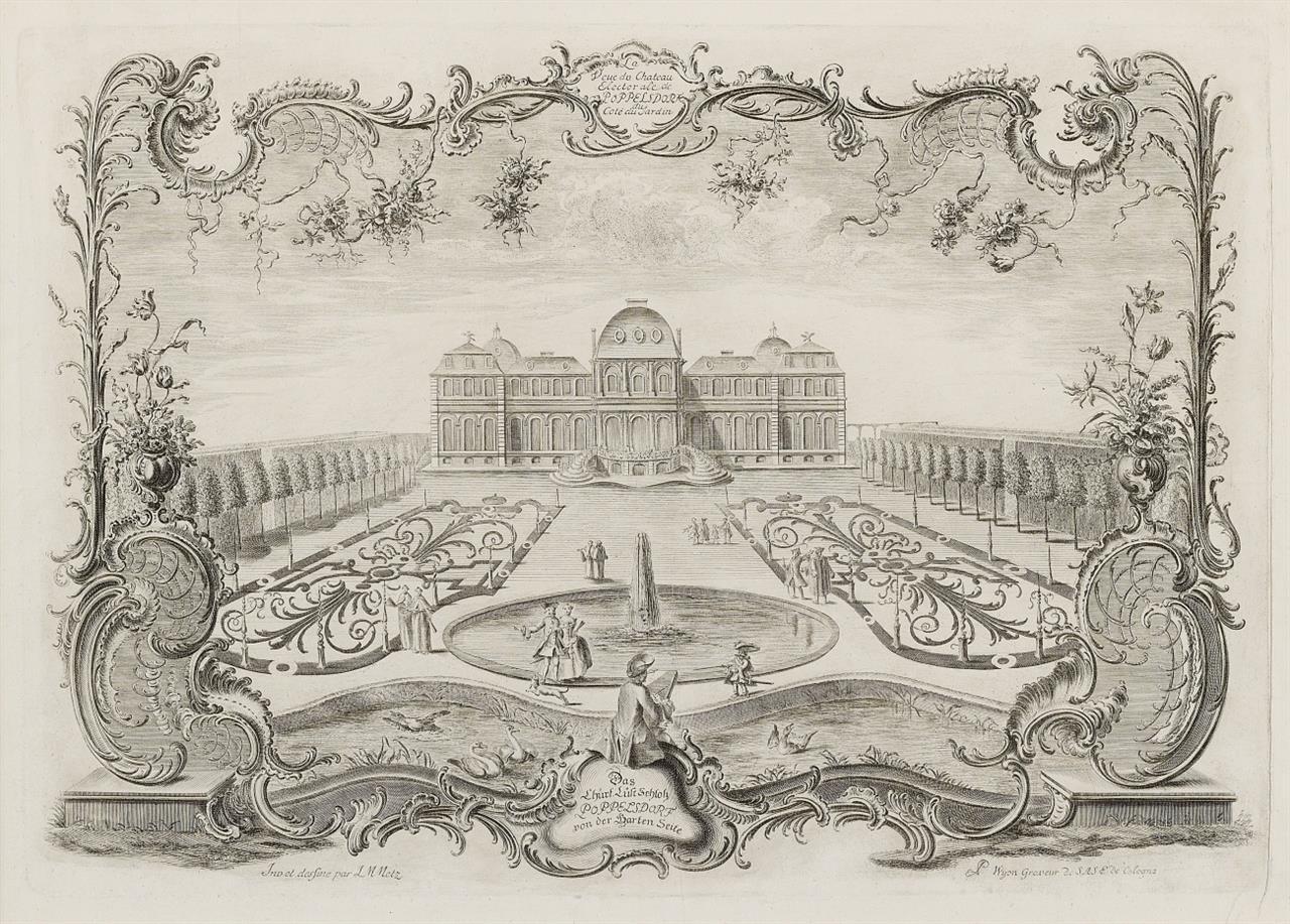 Metz / Mettelj. Das Churf. Lust Schloß Poppelsdorf von der Garten Seite. Radierung. um 1755.