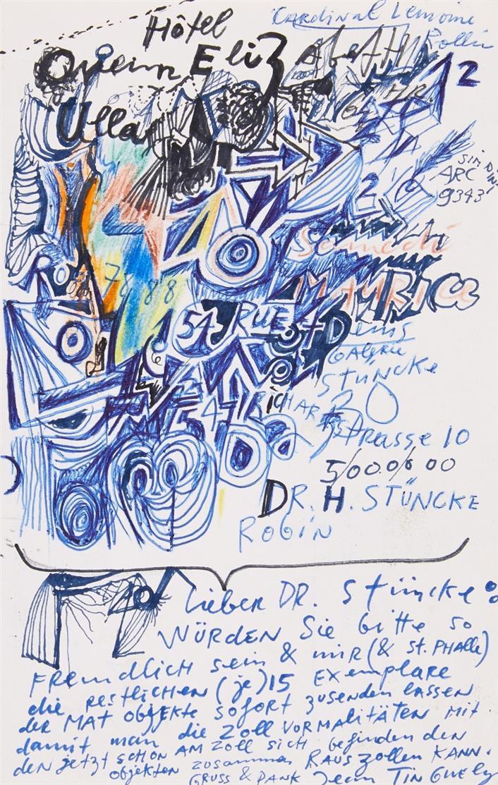 J. Tinguely, E. Brief m. U. und Zeichnung. Um 1966.
