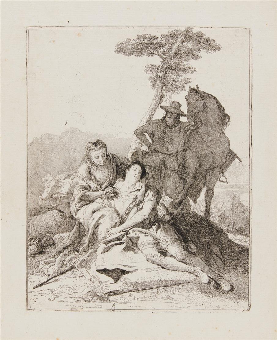 Giovanni Domenico Tiepolo. Medoro esangue. Radierung. De Vesme 91, Rizzi 140 I.