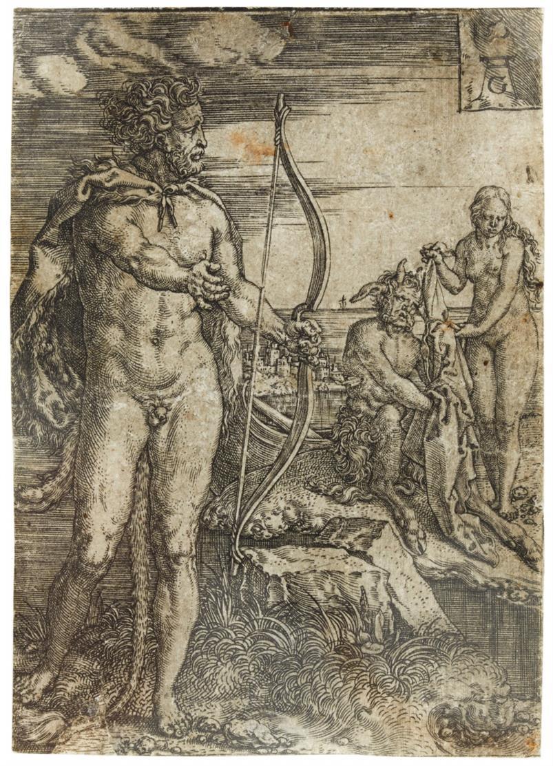 Heinrich Aldegrever. Herkules tötet Nessus. Kupferstich. NH 93.