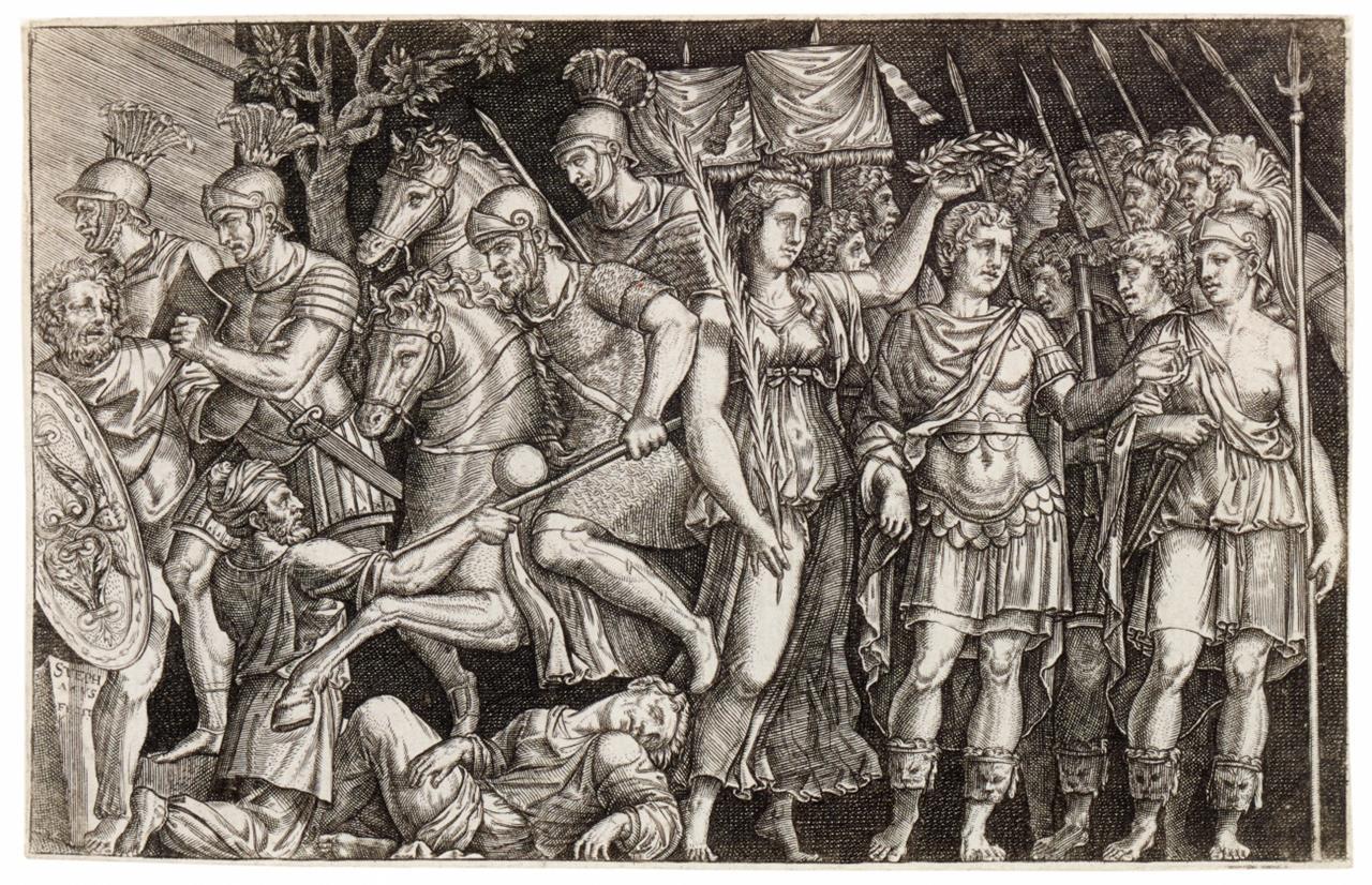 Etienne Delaune. Trajan. - 2 Ausschnitte aus d. Trajanssäule). 2 Bll. Kupferstiche.