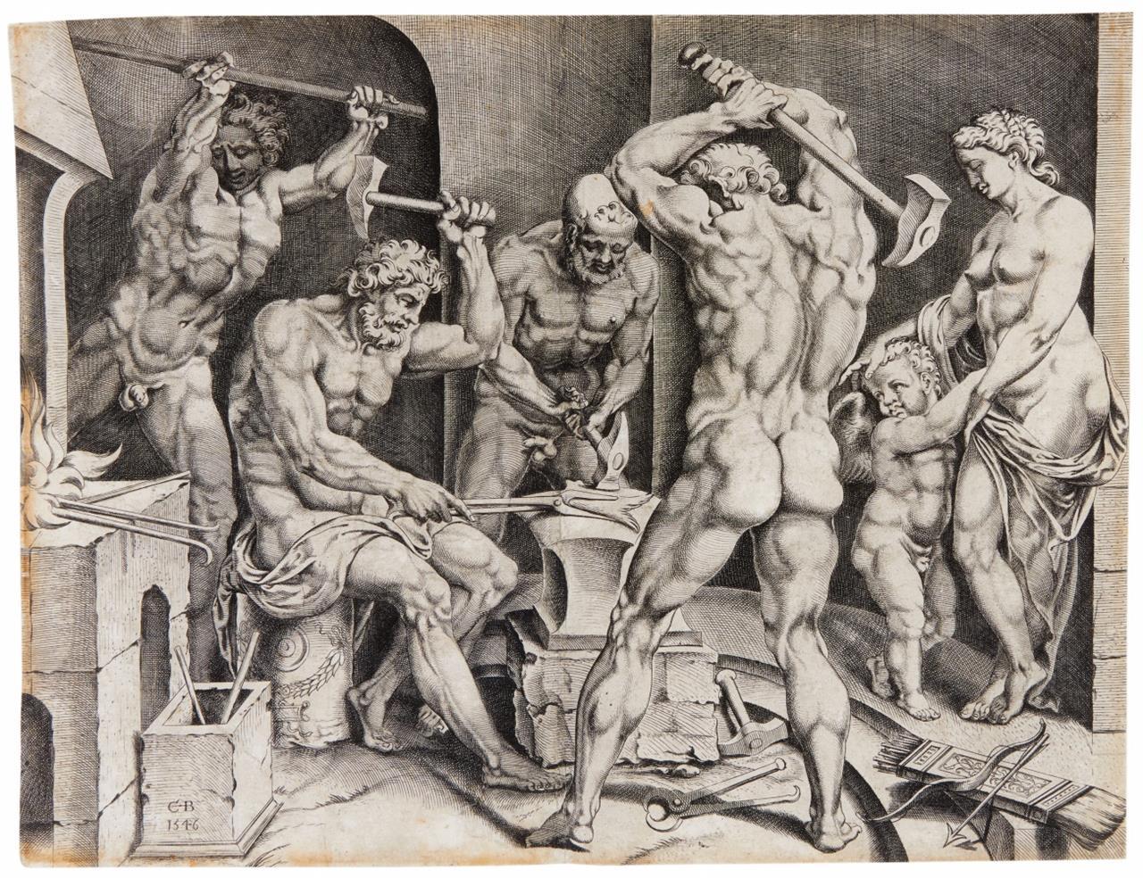 Cornelis Bos. Venus und Amor in der Schmiede des Vulkan. 1546. Kupferstich nach Heemskerck. H 64; NH (Heemskerck) 587.