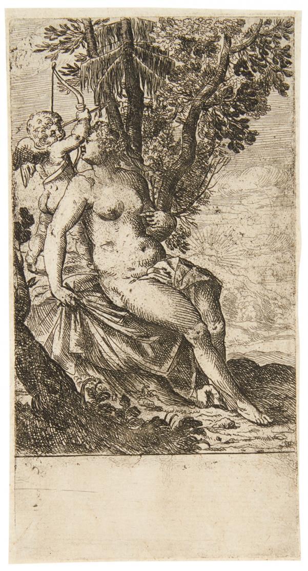 Odoardo Fialetti. Venus, Amor beim Spannen des Bogens beobachtend. 1617. Radierung.