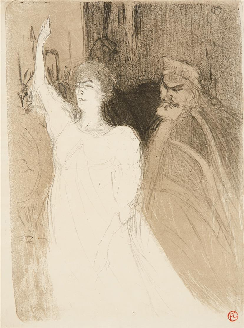 Henri de Toulouse-Lautrec. Bartet et Mounet-Sully, dans Antigone. 1893. Farblithographie, gestempelt. W.45