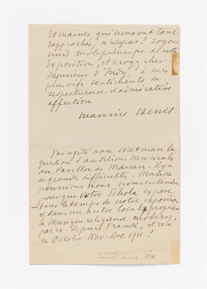 M. Denis. E. Brief m. U.; St. Germain, 20.XI.1910. 3 Seiten in Oktav. - An Vincent d'Indy.