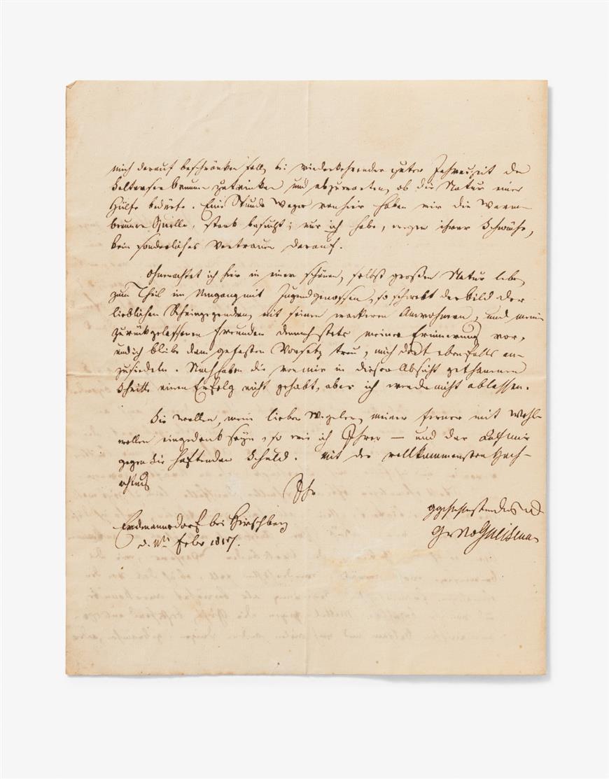 A. Neidhardt v. Gneisenau. E. Brief m. U.; Erdmannsdorf, 11.II.1817.  2 Seiten in Quart. - An Wegeler.