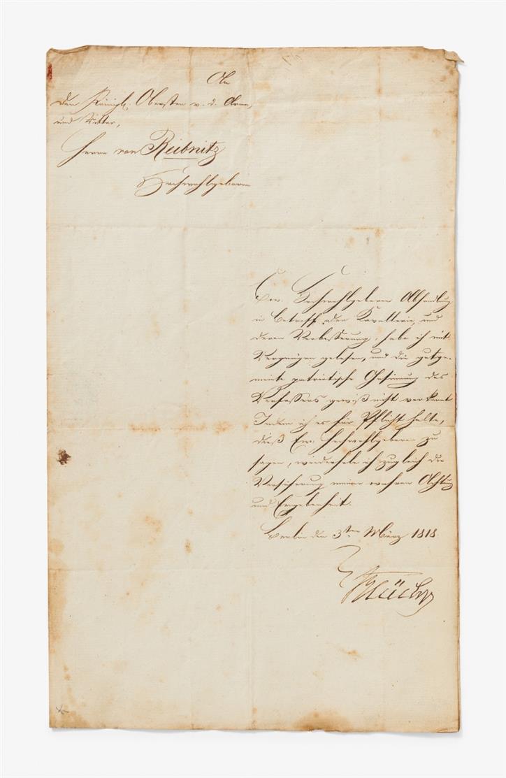 G. L. Fürst Blücher. Brief m. U.; Berlin, 3.III.1818. 1 Seite in Quart. - An Oberst v. Reibnitz