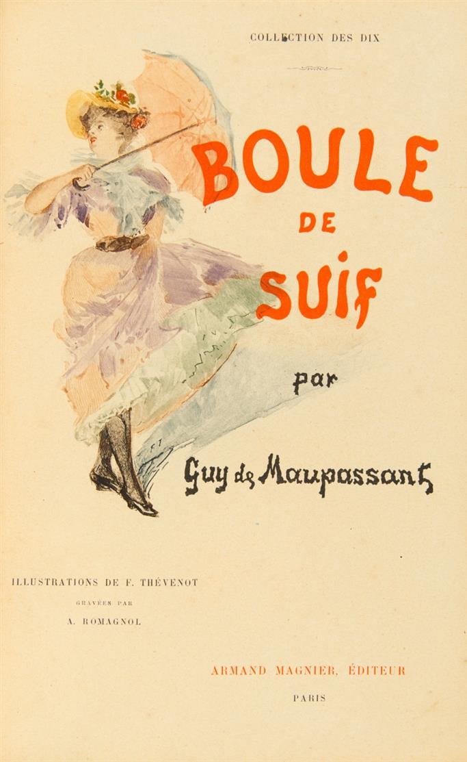 G. de Maupassant, Boule de Suif. Paris 1897. - Eines von 40 Ex. auf Vélin de cuve. - Maroquin von Marius-Michel.