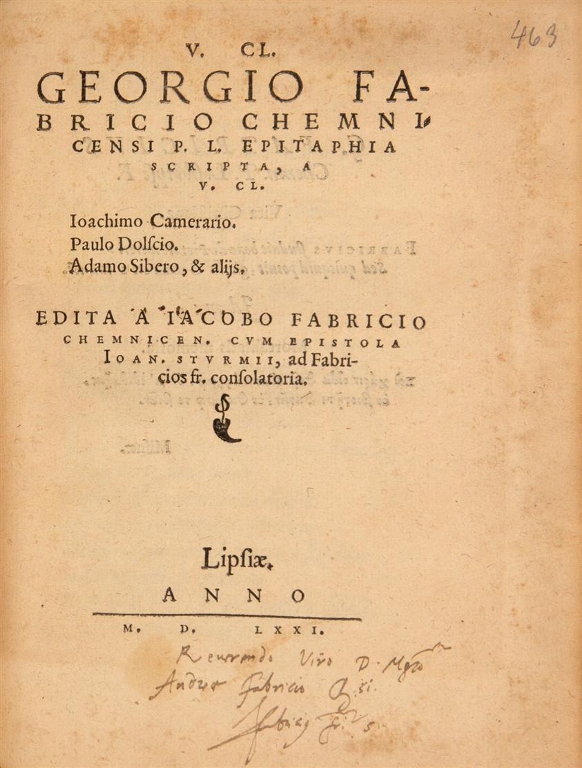 Paul Eber, Calendarium historicum conscriptum. Wittenberg 1571./ 1 Werk beigebunden.
