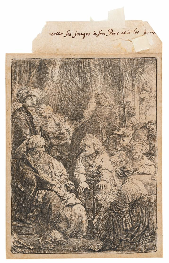 Rembrandt. Joseph, seine Träume erzählend. 1638. Radierung. NH 167 III (von VI); B. 37.