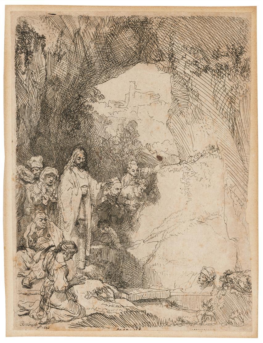 Rembrandt. Auferweckung des Lazarus, kleine Platte. 1642. Radierung. NH 206 I (von II); B. 72.