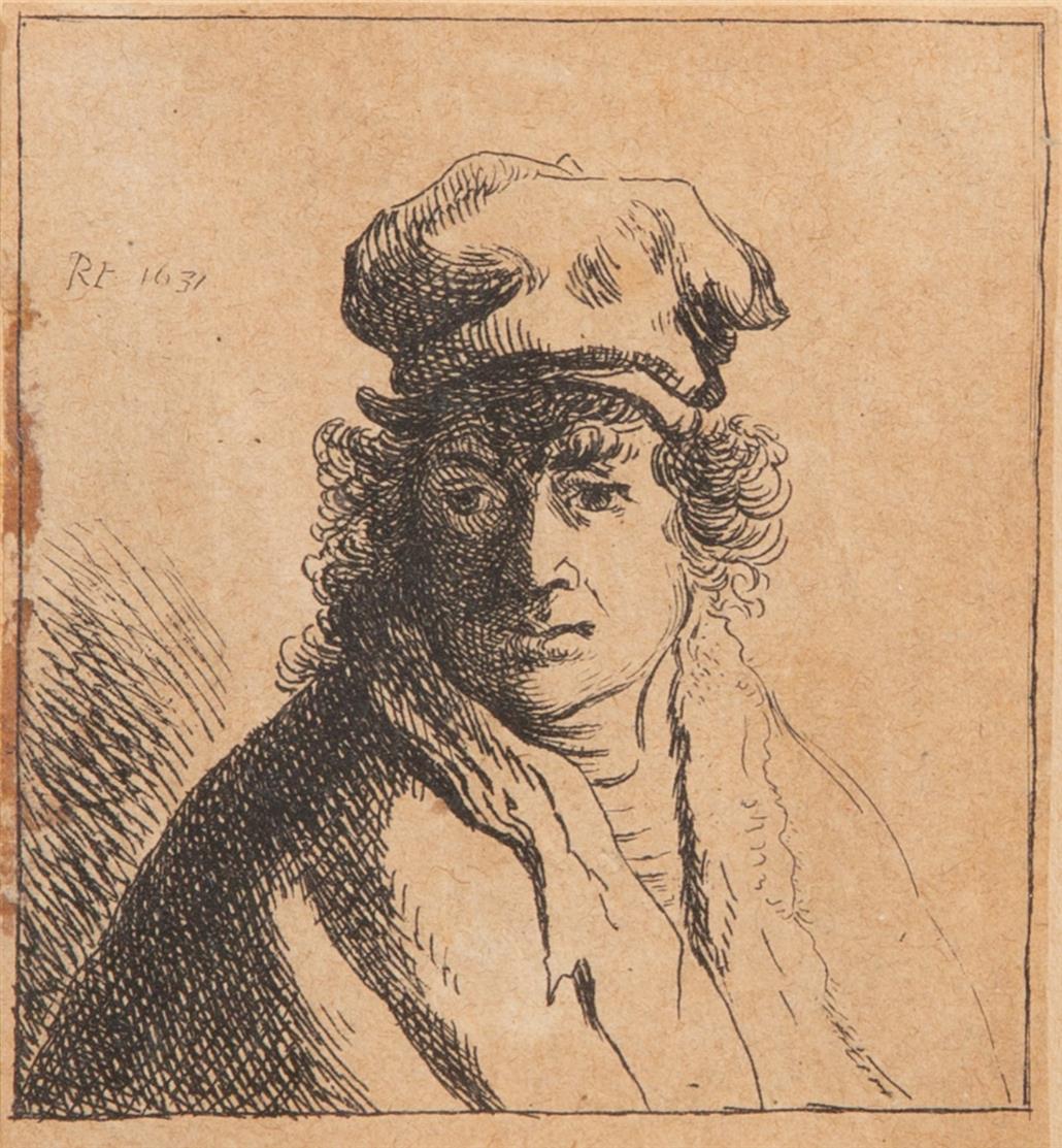 Kopie nach Rembrandt. Junger Mann mit Kappe. 1631. Radierung. NH 104w copy.