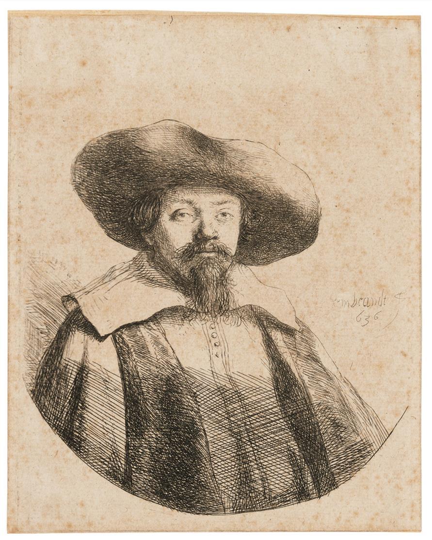 Rembrandt. Menasseh Ben Israel. 1636. Radierung. NH 156 II (von IV); B. 269.