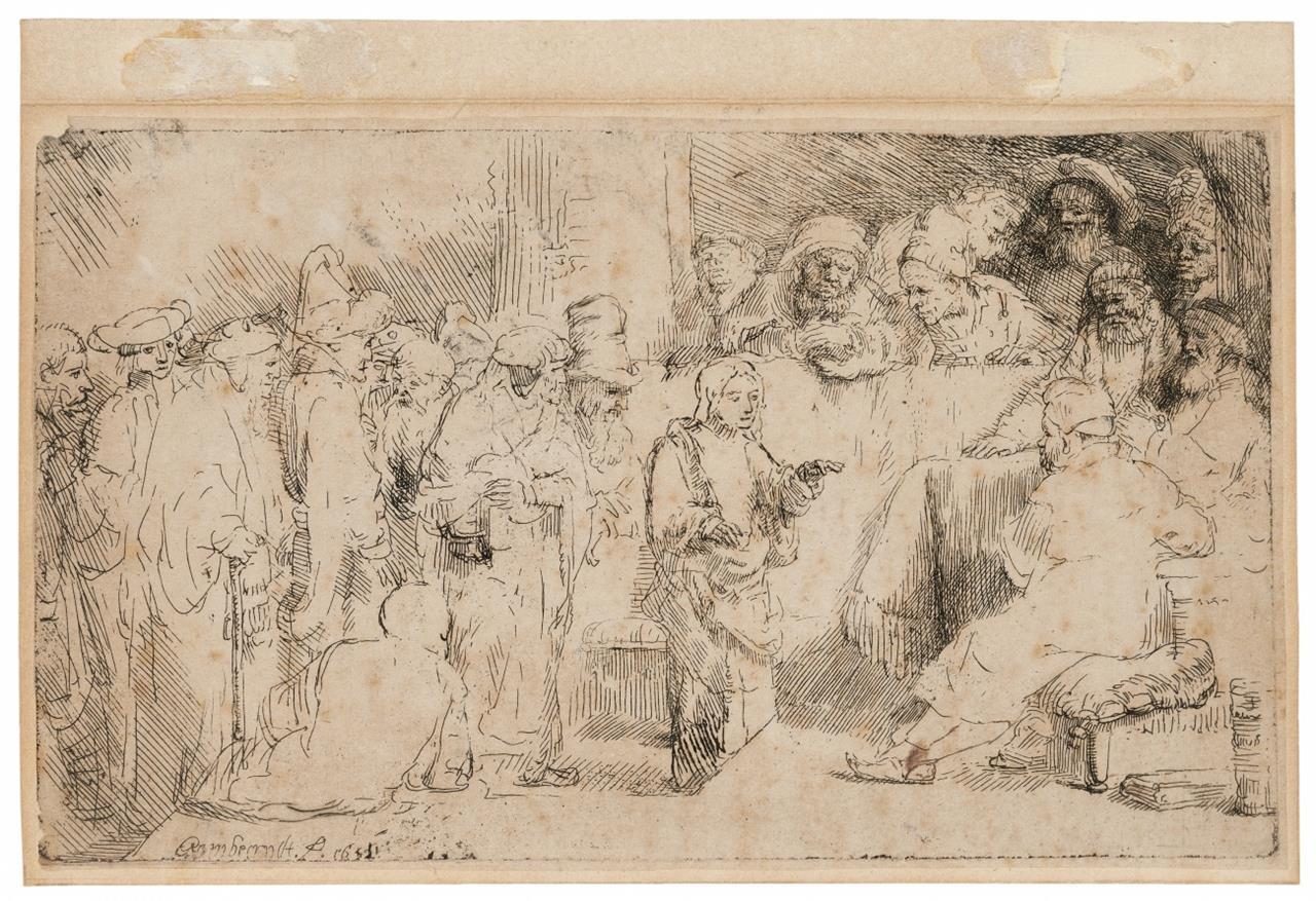 Rembrandt. Christus unter den Schriftgelehrten. 1652. Radierung. NH 267 I (von II); B. 65.