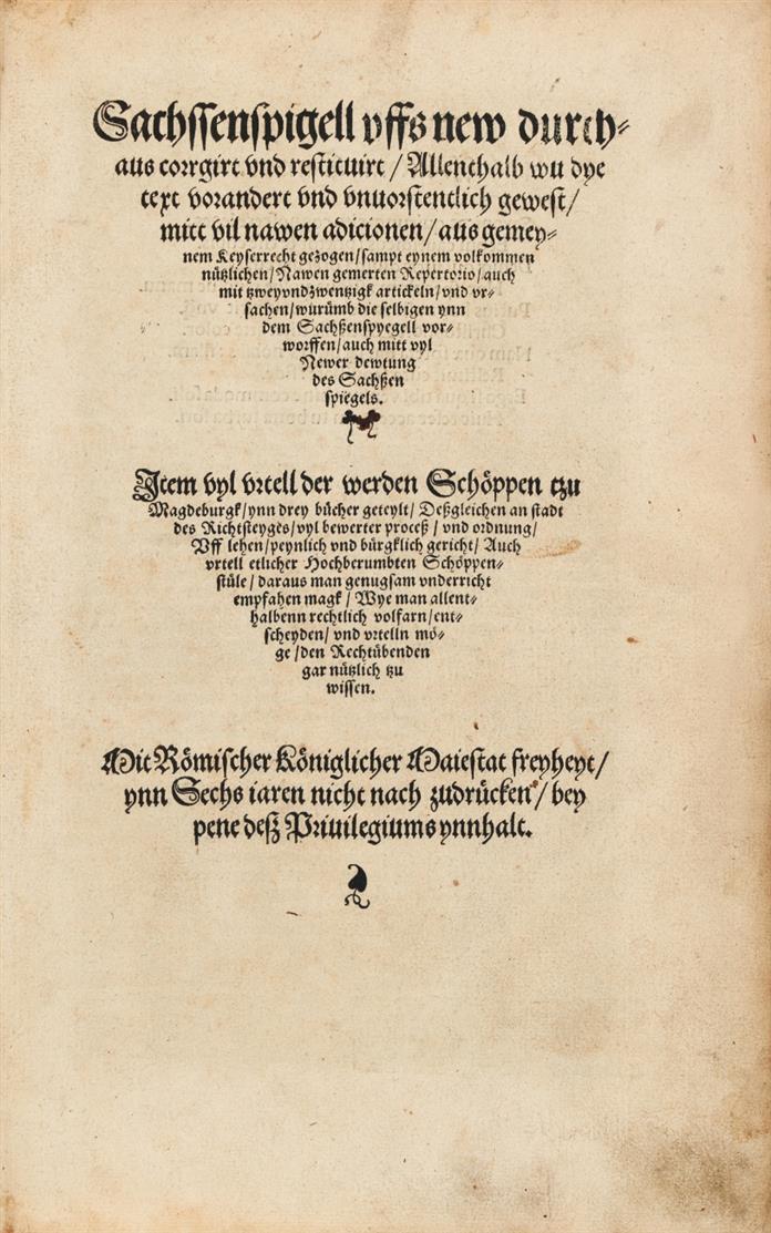 Sachssenspigell uffs new durchaus corrigirt und restituirt ... (Hrsg. v. Chr. Zobel). Leipzig 1535.