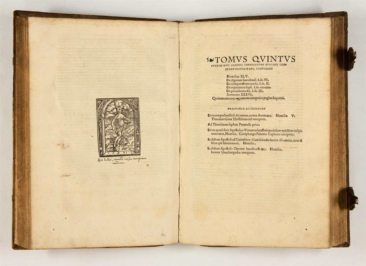 Johannes Chrysostomus, Tomus quartus/- quintus operum. 2 Tle. (v. 5)  in 1 Bd. Basel 1521-22.