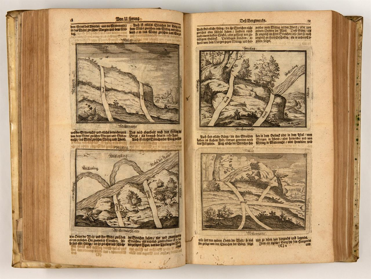 Corpus Iuris & Systema rerum Metallicarum, oder: Neu-verfaßtes Berg-Buch. Frankfurt a. M. 1698. + angebunden: G. E. Löhneysen, Bericht von Bergwercken... Stockholm und Hbg 1690.