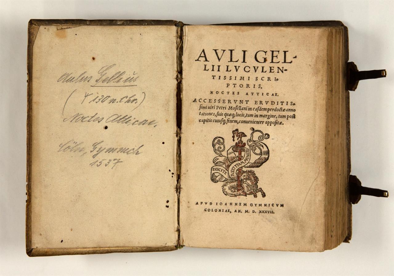 A. Gellius, Noctes Atticae. Ed. P. Mosellanus. Köln 1537.