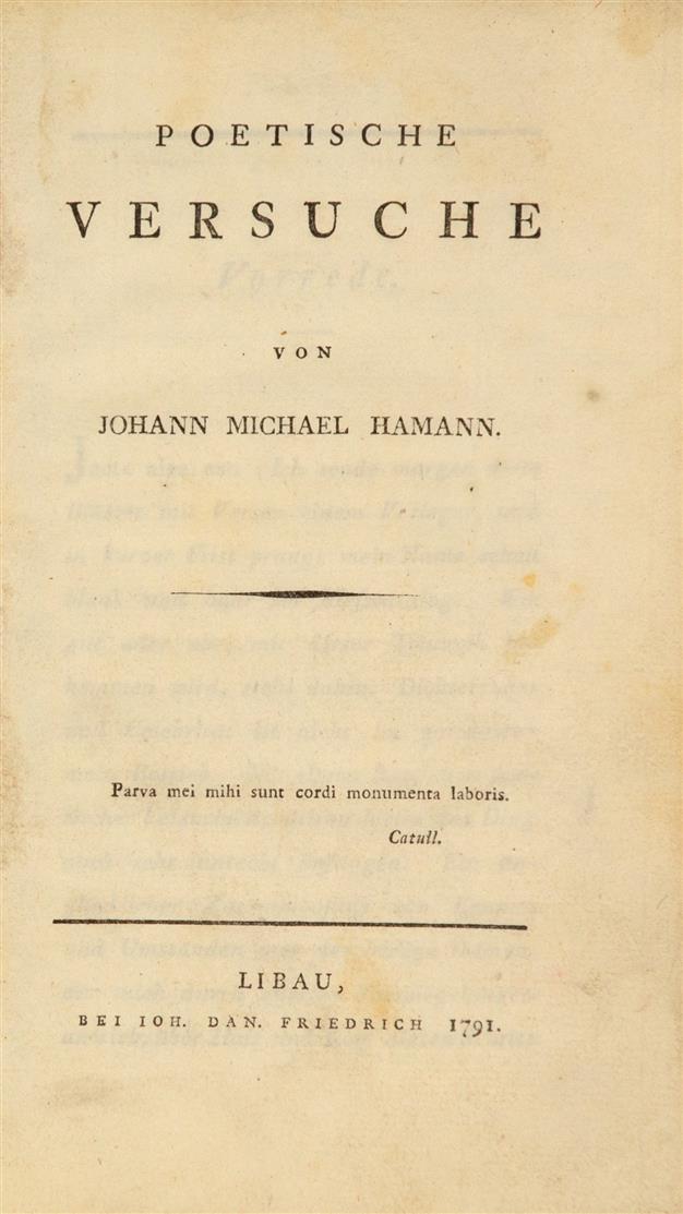 J. M. Hamann, Poetische Versuche. Libau 1791.