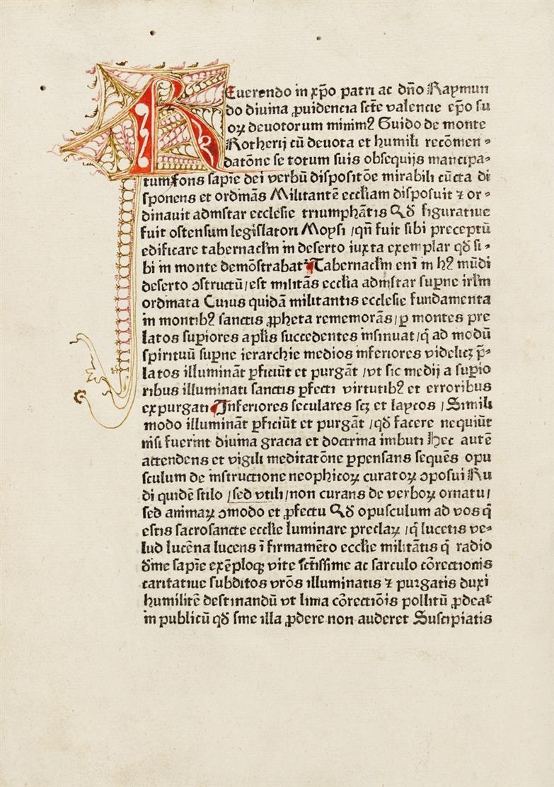 Guido de Monte Rocherii, Manipulus curatorum. Blaubeuren 1474. Angebunden: Auctoritates super Margarita Decreti. - Hs. des 15. Jhs.
