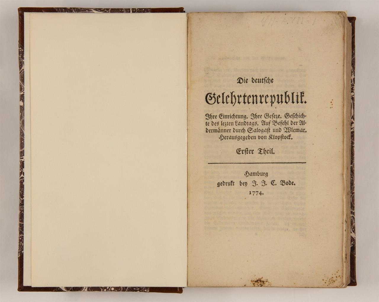 F. G. Klopstock, Die deutsche Gelehrtenrepublik. Bd. 1 (alles). Hamburg 1774.