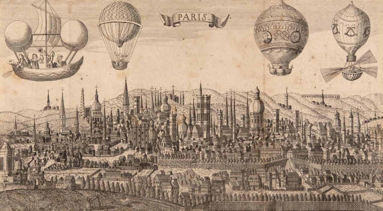 Luftschifffahrt. Paris (fiktive Gesamtansicht mit Luftschiffen). Um 1785/90. Anonymer Buchkupferstich.