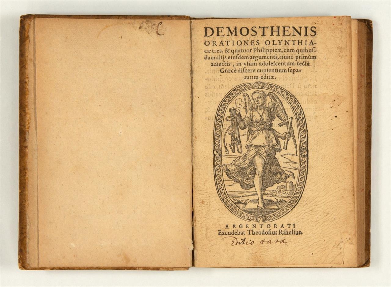 Demosthenes, Orationes Olynthiacæ tres, & quatuor Philippicæ ... in usum adolescentum ... Straßburg, um 1605.