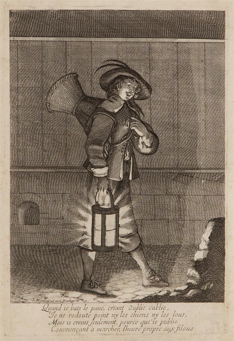 Abraham Bosse. Le marchand d'oublies. Um 1650. Kupferstich. Le Blanc 756.