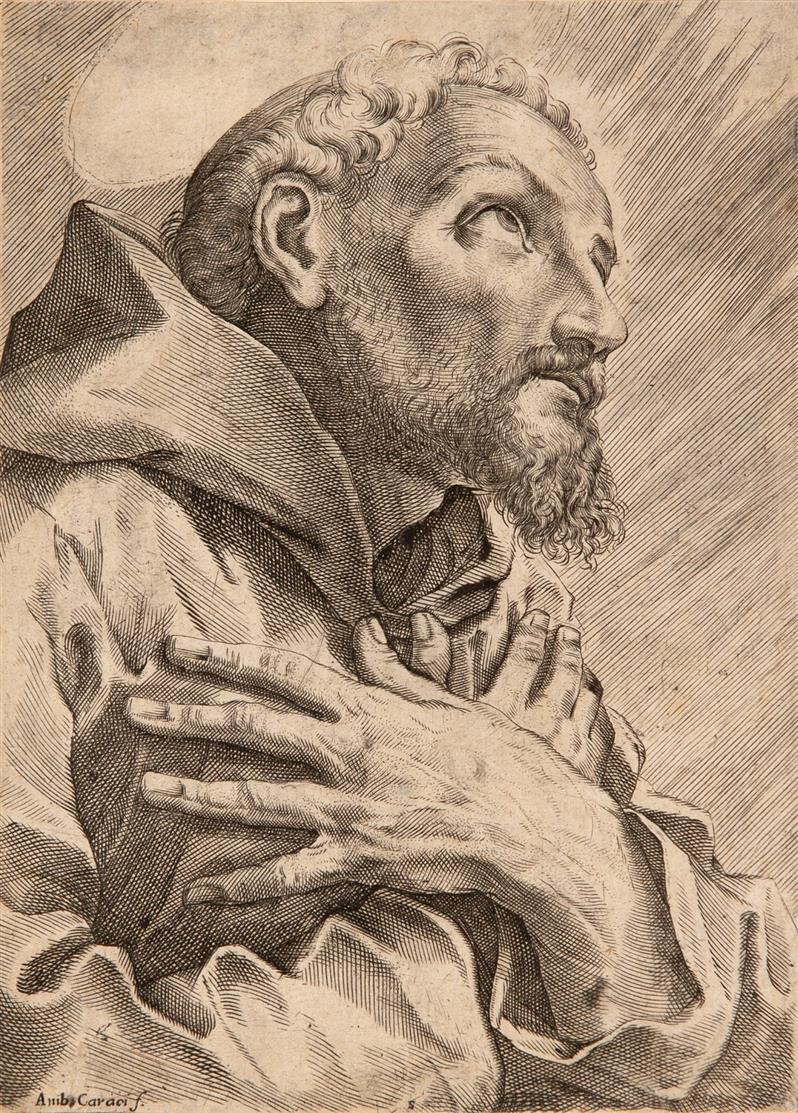F. Brizio. Hl Franziskus im Gebet. Kupferstich. Vgl. B. 8 (Brizio) bzw. B. 6 II (Carracci).