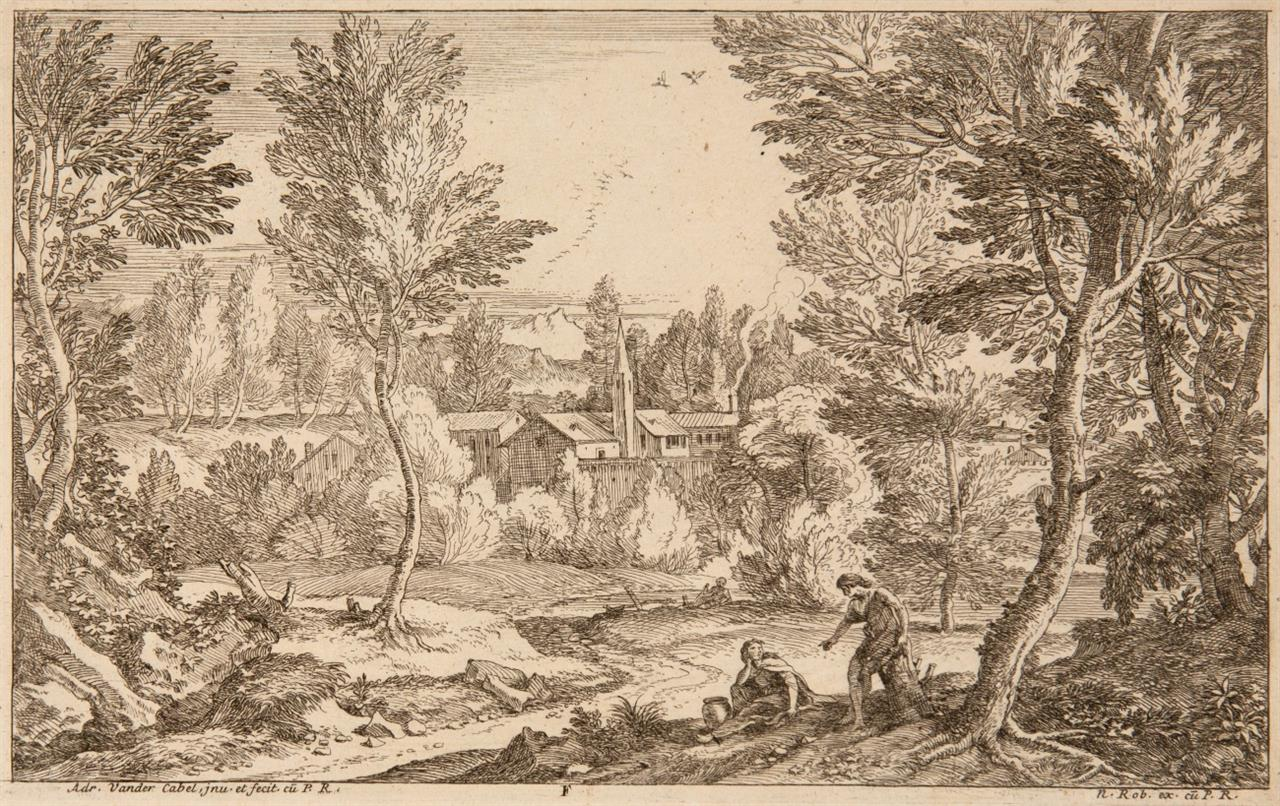 Adrian van der Cabel. Segonds Livre de Paisages. 6 Blatt (Titel + 5 Bl.). Radierungen. H. 14-19.