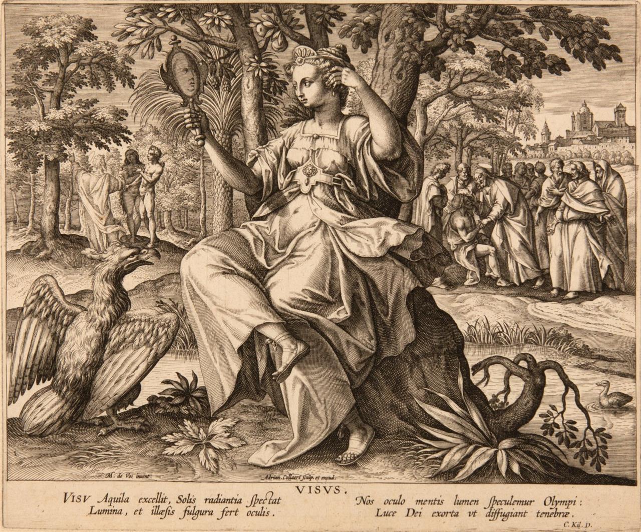 Adriaen Collaert nach M. de Vos. Visus. Kupferstich. NH 1368.
