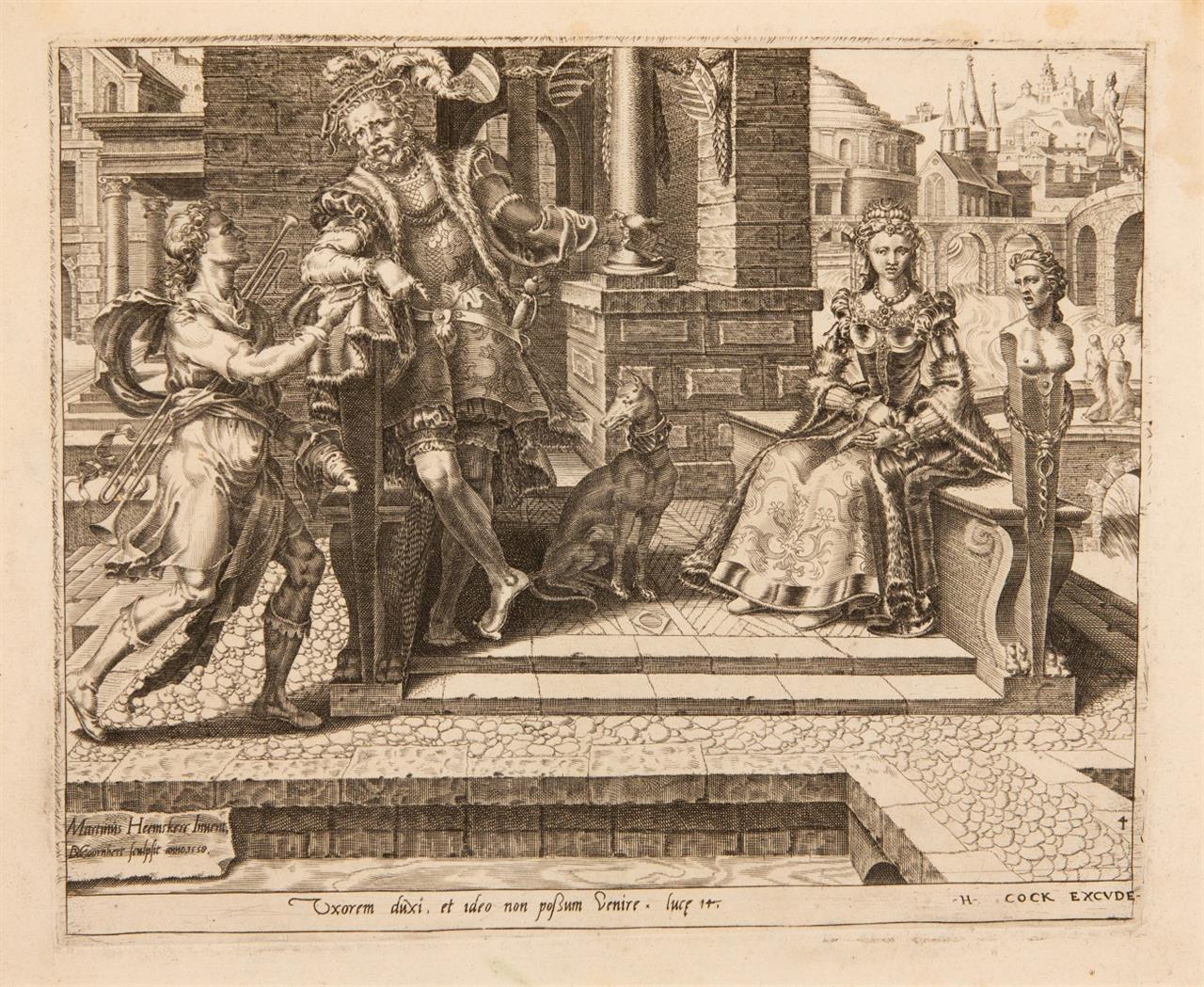 D.V. Coornhert nach M. v. Heemskerck. Der Mann der die Hochzeitseinladung ablehnt. Kupferstich. NH. 346.