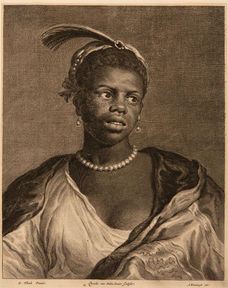 C. van Dalen II nach Govert Flinck. Bildnis eines schwarzen Mädchens mit Perlenkette. Kupferstich. H. 33 II.