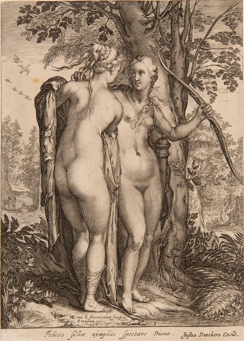 Jan Saenredam nach H. Goltzius, Die Nymphen der Diana. 3 Blatt Kupferstiche. NH 613-615 II-IV.