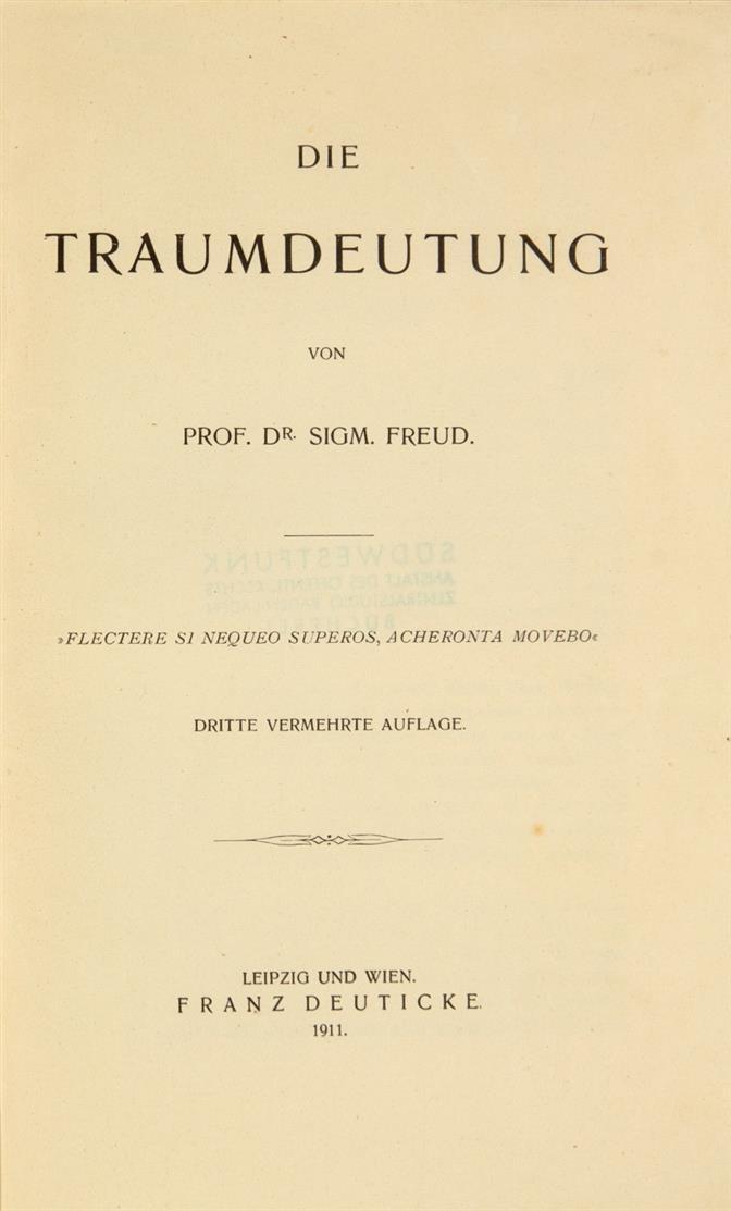 S. Freud, Die Traumdeutung. 3. verm. Auflage. Lpz. u. Wien 1911.