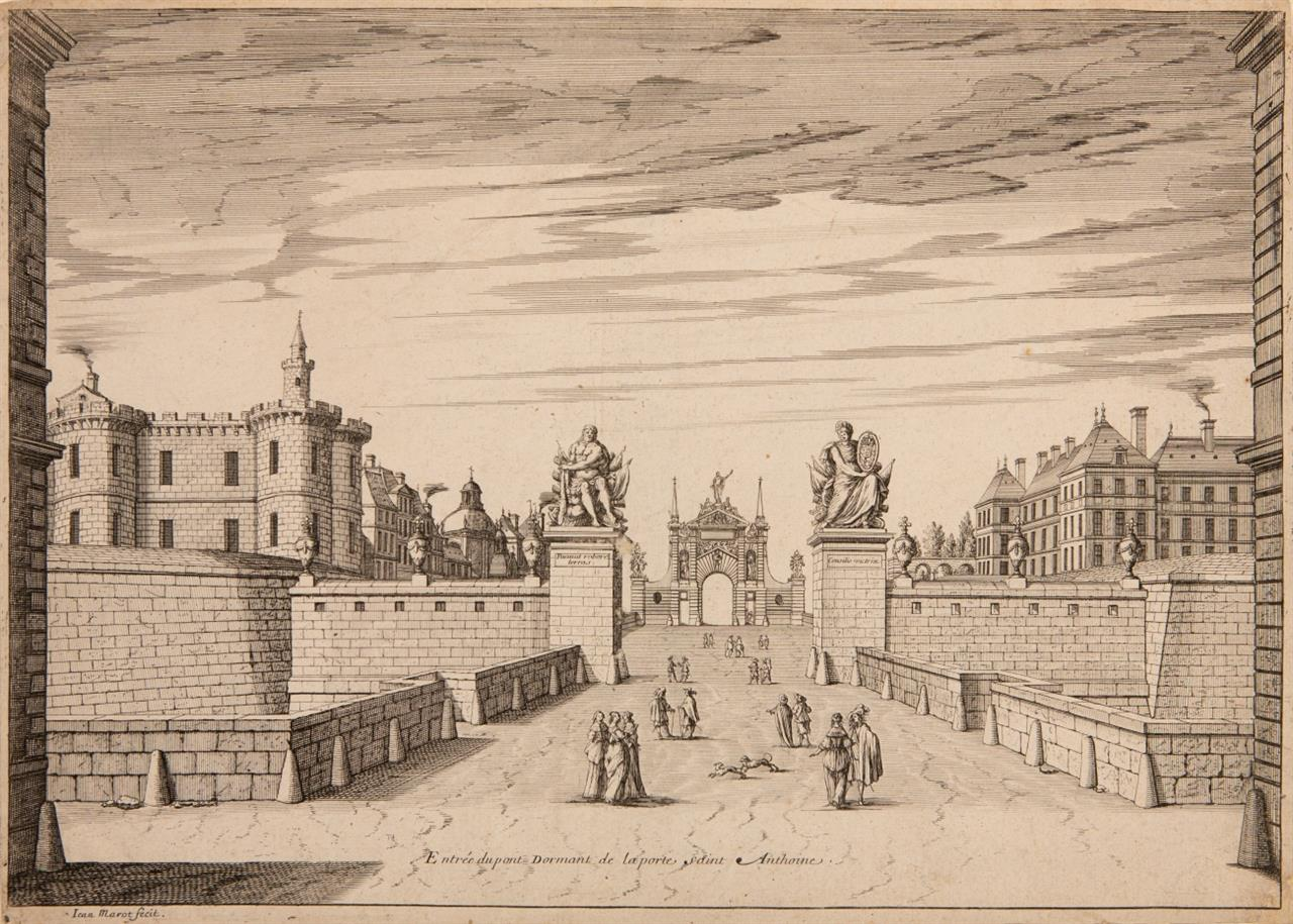 Jean Marot. Entrée du pont Dormant de la Porte de Saint Antoine. Kupferstich.