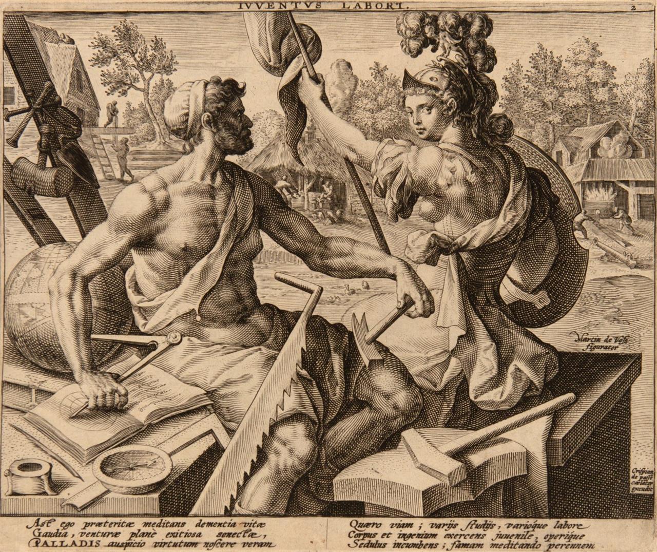 Crispijn de Passe. Iuventus labori. 1596. Kupferstich. H. 489.