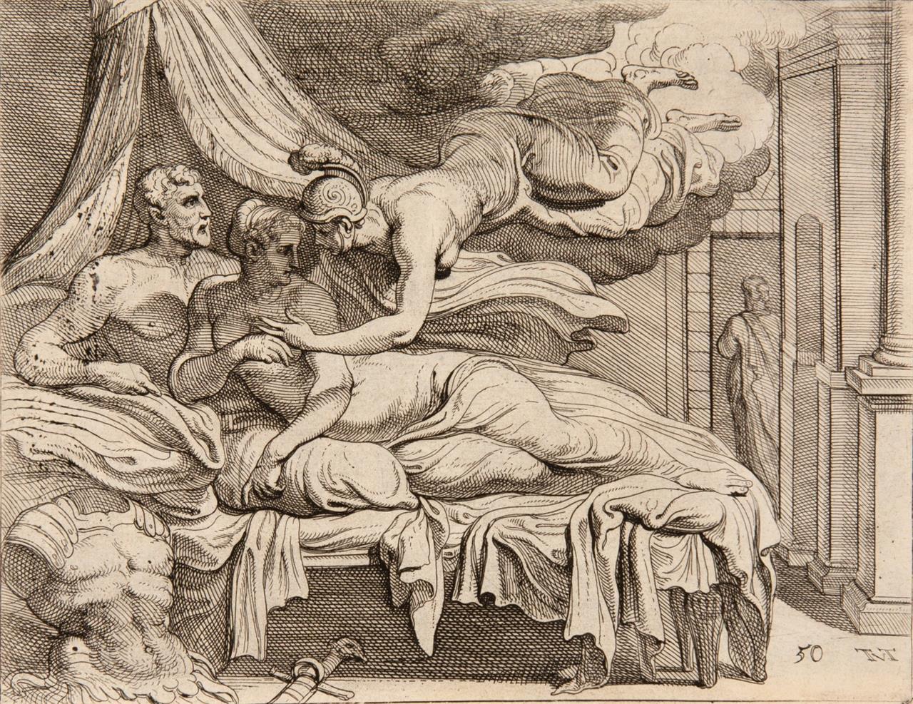 Theodoor Van Thulden. Les travaux d'Ulysse. Paris 1640. 6 Bll. Titel und Text, Wappenkupfer, 58 Bl. Kupferstiche. HLdr.