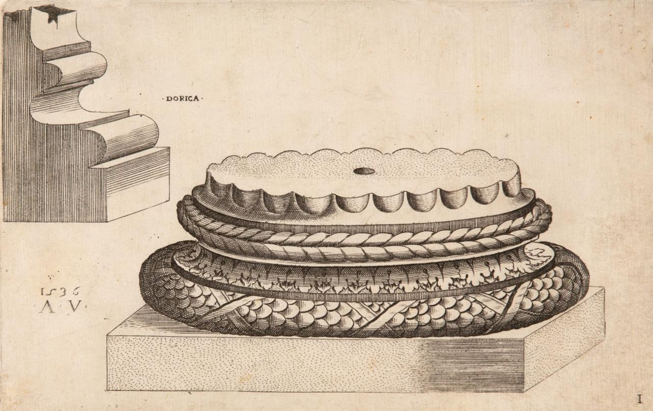 Agostino de' Musi, gen. Veneziano. Säulenbasen. 3 Blatt Kupferstiche (von 4). B. 525, 529, 532.
