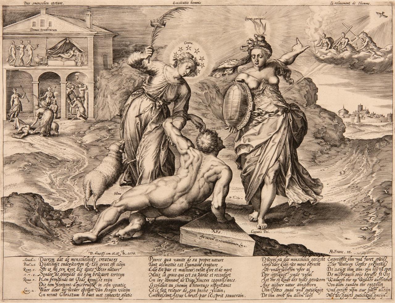 Hieronymus Wierix nach A. Francken. Die Erhebung der Menschheit. 1578. Kupferstich. NH 1799.