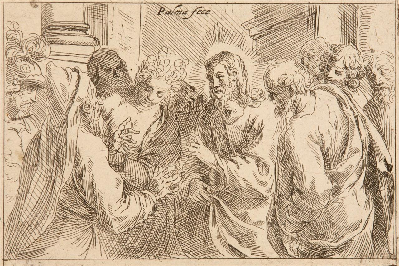 Jacopo Palma. Christus und die Ehebrecherin. Radierung. B. 20.