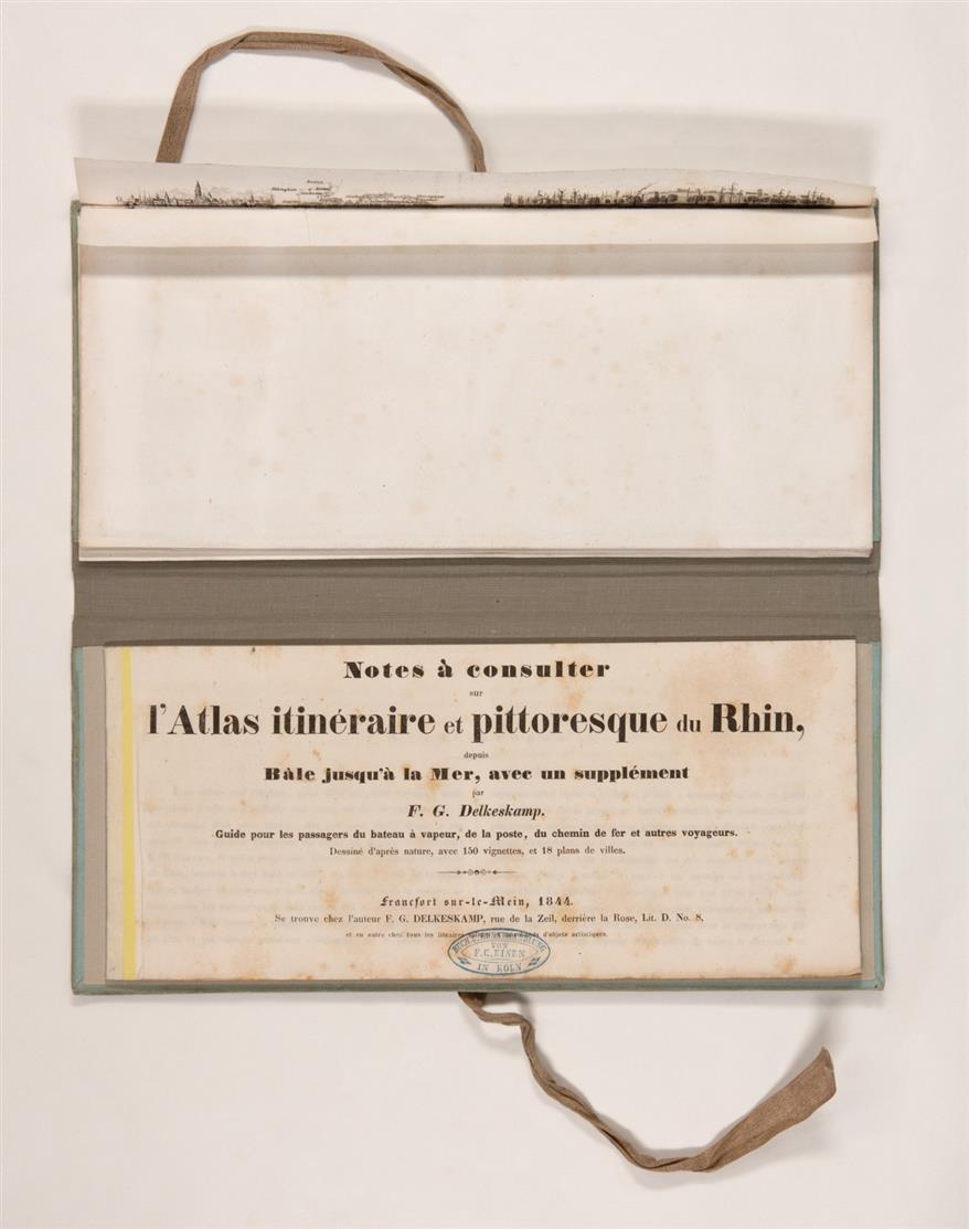 F. W. Delkeskamp, Malerischer Reise-Atlas des Rheins von Basel bis zum Meere. Leporello mit Textheft in 1 Bd. Ffm 1844.