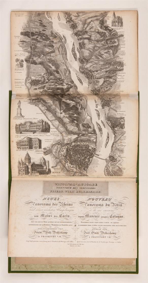 F. W. Delkeskamp, Neues Panorama des Rheins von Mainz bis Coeln. Leporello mit engl. Begleitheft in 1 Bd. Ffm. 1842.