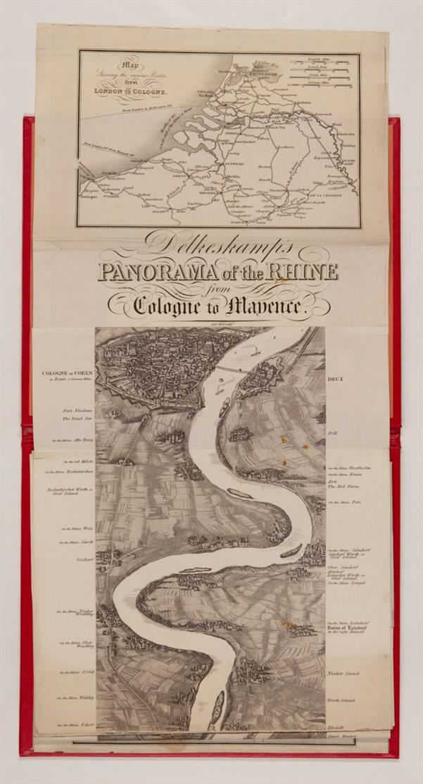 F. W. Delkeskamp, Panorama of the Rhine from Cologne to Mayence. Leporello, unkoloriert + Begleitheft