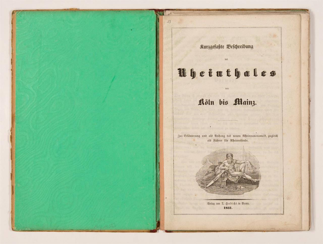 F. W. Delkeskamp, Neues Panorama des Rheins von Mainz bis Köln. Leporello mit eingehängtem Begleitheft. Ffm 1851.