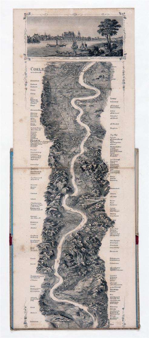 F. W. Delkeskamp, Kleines Rhein-Panorama von Mainz bis Köln. Leporello mit eingehängtem Begleitheft in 1 Bd. Ffm 1853.