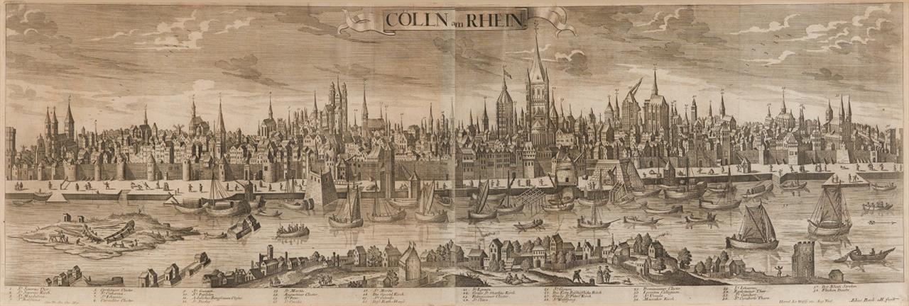 Köln. Cölln am Rhein. Panoramaansicht. Kupferstich von Elias Baeck, bei J. Wolff Erben.