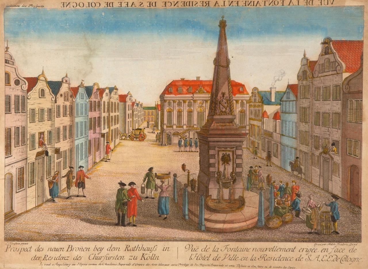 Bonner Marktplatz. Guckkastenbild. Kolorierte Radierung d. 18. Jhs.