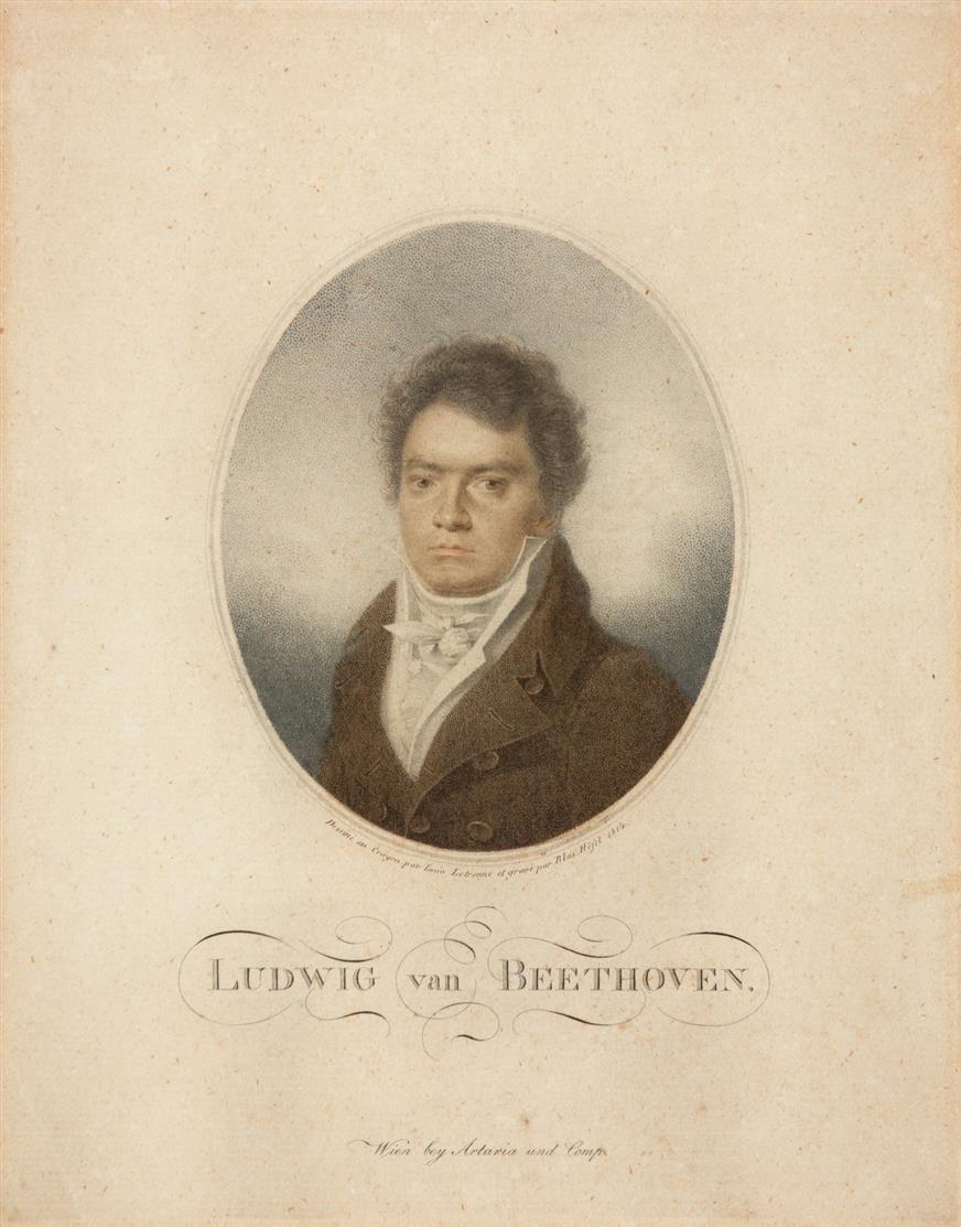Ludwig van Beethoven, 1814. Farbpunktierradierung von Blasius Höfel nach Louis Letronne.