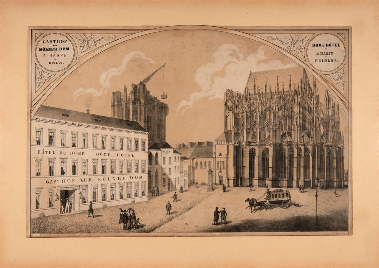 Köln. Gasthof zum Kölner-Dom von A.Harff in Cöln. Um 1840-45. Lithographie.